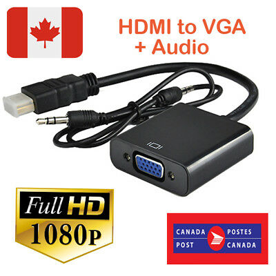 Standard HDMI to VGA Connector with Stereo Audio Cable for PC DVD 1080P HD