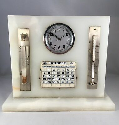 Antique LeCoultre Clock Desk Calendar Barometer Thermometer Marble Onyx Vintage