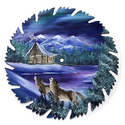Hand Painted Saw Blade Art Mountain Log Cabin Winter Wolves  Northern Lights