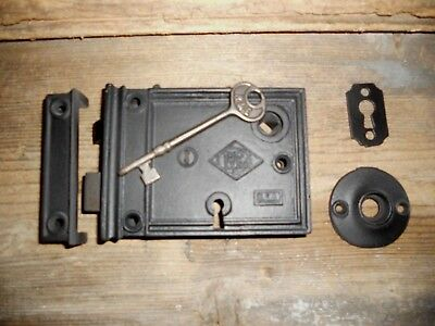 Vtg Working Privacy Russell&erwin Rim Lock/key/keeper/escutcheons Reconditioned