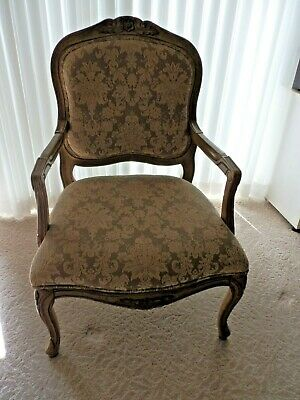 French Louis XV Style Carved Hardwood Berger/Accent Armchair