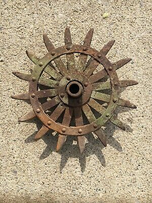 "Garden Rotary Hoe Spike Wheel - Garden Art Farm Find GREEN - 15"" diameter"
