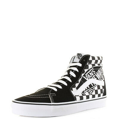 761779a92a8be Mens Vans Sk8-Hi Brand Patch Black White Checkerboard Hi Top Trainers Shu  Size