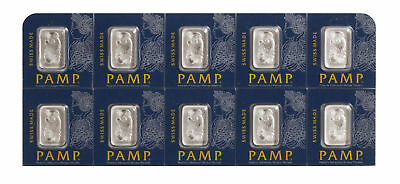 Lot of 10 - 1gram Platinum Pamp Suisse Bar .9995 In Assay from Multigram Fortuna