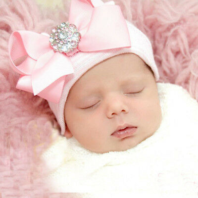 Newborn Baby Girl Infant Hat Knitted Flower Diamante Bow-Knot Cap Beanie Holiday