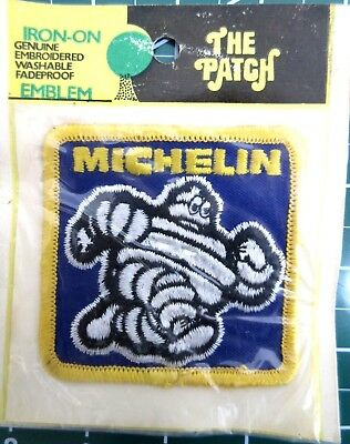 "Vintage 1980's ""Michelin"" Michelin Man  Patch Embroidered 3"" x 3""  NOS  NIP"