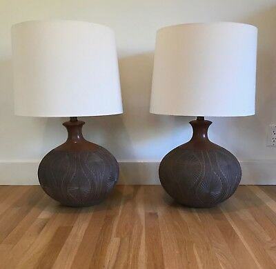 pair of david cressey lampsarchitectural pottery earth gender