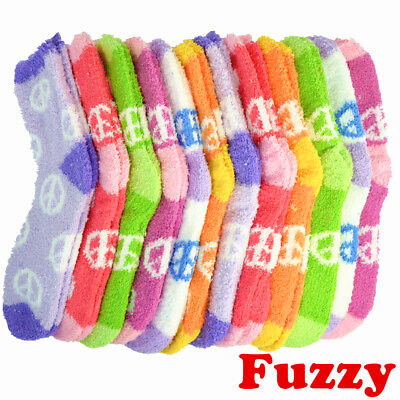 (3 Pairs) For Women's Cozy Fuzzy Crew Peace Soft Socks Winter Home Slipper 9-11