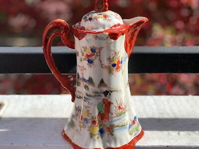 "Vntg,Japanese Kutani Hand Painted Porcelain Tea Pot Ornately Rose Garden 9""Tall."