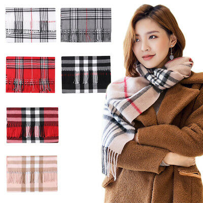 Women Blanket Oversized Tartan Scarf Tassels Wrap Shawl Plaid Cozy Checked US