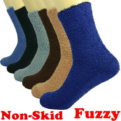 For Mens Womens 3-10 Pairs Soft Cozy Fuzzy Socks W/Non-Skid Solid Winter Slipper