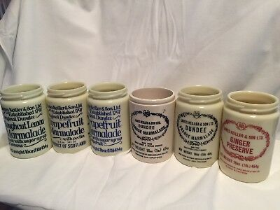 Vintage James Keiller & Sons Dundee Marmalade Jars Pots-Lot of 6 no lids