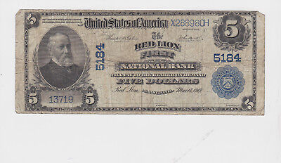 "Series Of 1902 Large $5 United States National Currency Bank Note ""red Lion"" Nr."