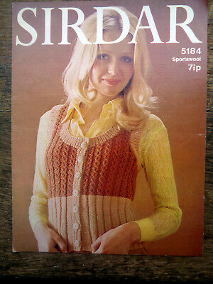 "Vintage Knitting Pattern Sirdar 5184 Lady's Waistcoat Buttons 32-38"" 1970S"