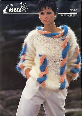 "Vintage Knitting Pattern Emu 3818 Lady's Sweater with Huge Cables 30-38"" Mohair"