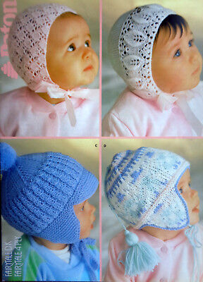 Knitting Pattern Patons 1238 Baby's Bonnets 0-6 mnths & Helmets 9-15 mnths