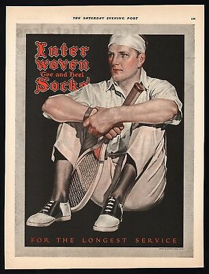 Vintage magazine ad INTERWOVEN SOCKS 1924 tennis player J C Leyendecker artwork