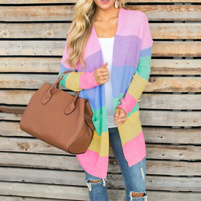 Plus Womens Long Sleeve Rainbow Striped Cardigan Tops Knit Sweater Coats Jacket