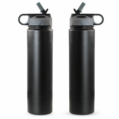 2 x Stainless Steel Water Bottles with Straw Vacuum Double Wall 24oz(790ml)