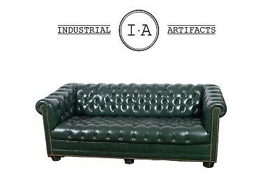 Vintage Leather Chesterfield in Oxford Green