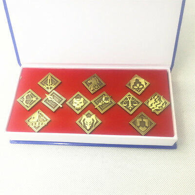 12 Pcs Fate/Grand Order FGO Badge Brooch Pin Button Metal Bag Tie Collection