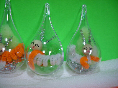 3 LOT CATERPILLAR vintage style package tie-on xmas decoration chenille ornament