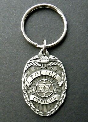 Police Officer Department Pewter Keyring Key Chain Ring 1.5 X 1 Inches