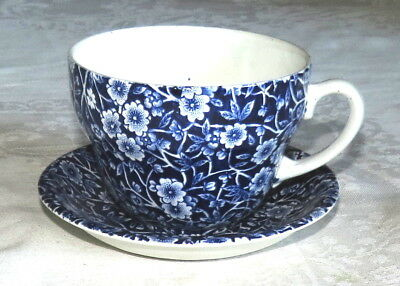 Calico Burleigh Staffordshire Oversize Cup, and Saucer