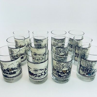 12 Vintage Currier & Ives Arby's Drinking Glasses Tumbler Holiday Winter 78 & 81