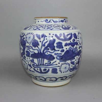 Beautiful Chinese Antique Ming Blue White Porcelain Fish Pot