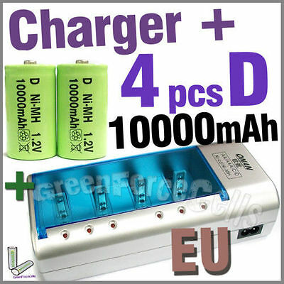 4 x 10000mAh D 1.2V NI-MH Battery Green + Rechargeable Charger C AA AAA 9V EU