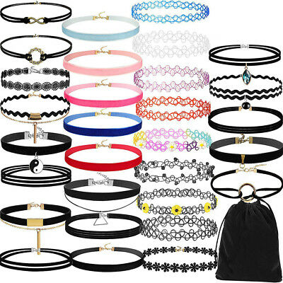 30Pieces Choker Necklace Set Stretch Velvet Classic Gothic Tattoo Lace Choker US