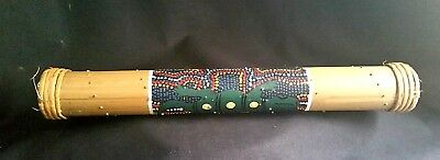 "Bamboo Crafted Rain Stick Hand Painted Dot Design 16"" Melodic Nature Tone Musica"