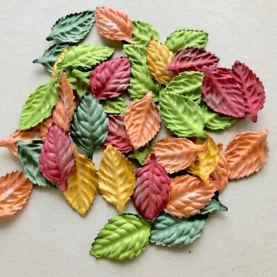 10 Mixed Leaves Mulberry paper Embellishment Scrapbooking Card Making