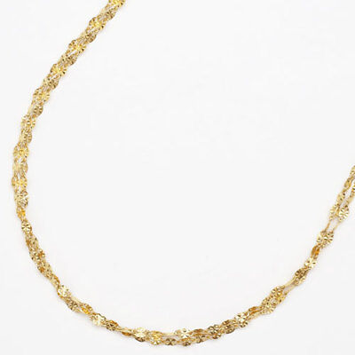 """24K Solid Yellow Gold 2-Strand Southern Cross Motif Link Necklace 16.5"""" Japan"""
