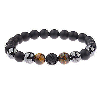 Men 10mm Black Onyx Lava Hematite Tigers Eye Gemstone Natural Stone Bracelets