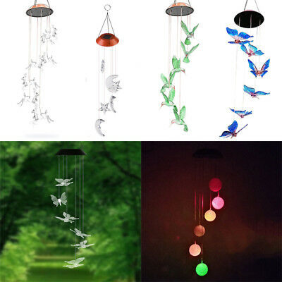 Hanging Garden Ornament Colour Changing Solar Powered Wind Chime LED Light