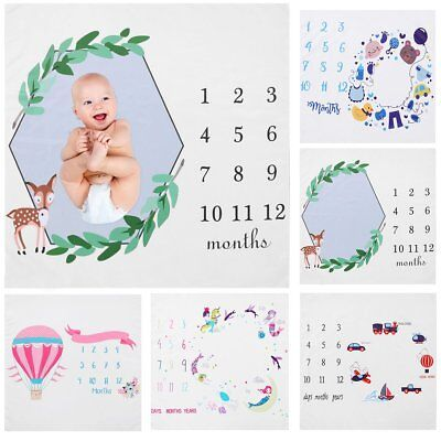 Milestone Photography Newborn Baby Blanket Monthly Flowers Numbers Photo Prop US