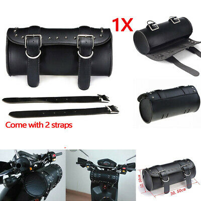 1x Motorcycle PU Roll Barrel Tool Bag Luggage Saddlebag For Harley Universal