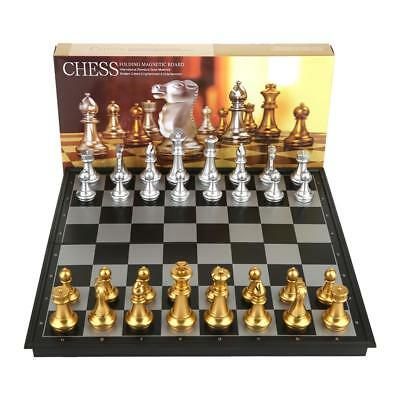 Magnetic Chess Silver & Gold Pieces Chess Folding Magnetic Foldable Board Game