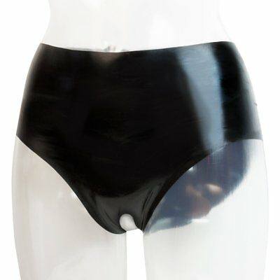 Sexy Slip Alto Donna Aperto al Cavallo Pube 100% Vero Latex Lattice Fetish Nero