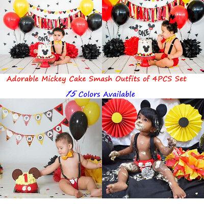Mickey Mouse First Birthday Cake Smash Outfit 4PCS Clothes For Baby Boys Costume