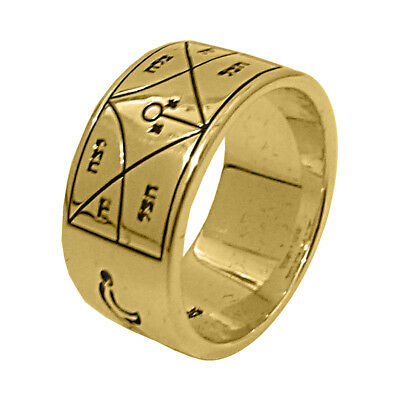 Ring Seal of Angel Raziel King Solomon Silver 925 Gold Plated 24ct (6-13 303469e4194c
