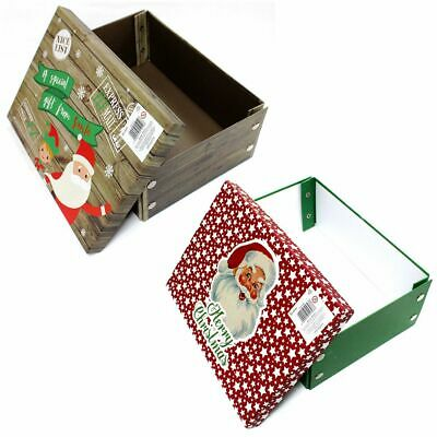 Christmas Gift Boxes Father Christmas Or Elf Design Small Or Large Box