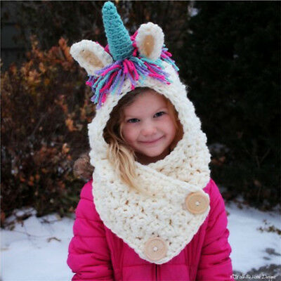 Unicorn Hat Multicolor Animals Cute Beanie Wool Knitted Caps for Kids Girls Gift