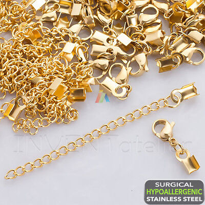 316l SURGICAL STEEL Hypoallergenic GOLD Lobster Crimp Ends Extension Chain 3mm