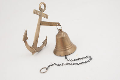 Nautical Maritime Brass Anchor Ship Bell w/ Bracket & Chain Lanyard Wall Decor