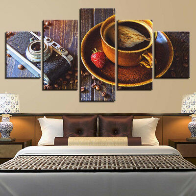 Coffee Cup Strawberry Camera Roasted Beans Canvas Framed Print Wall Art 5 Pieces