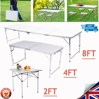 2/4/8FT Portable Folding Trestle Table HeavyDuty Steel Work Party Garden Camping