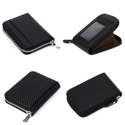 Carbon Fiber Wallet Credit Card Holder Genuine Leather RFID Block Zipper Thin AU